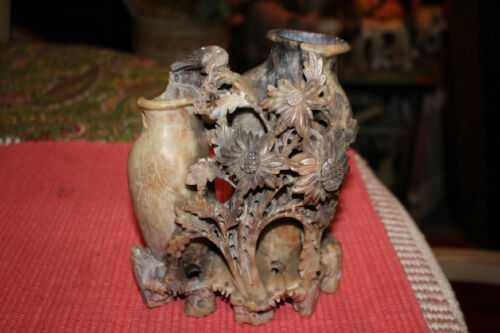 Antique Chinese Soapstone Carving Double Vase-Flowers & Birds-Intricate Work