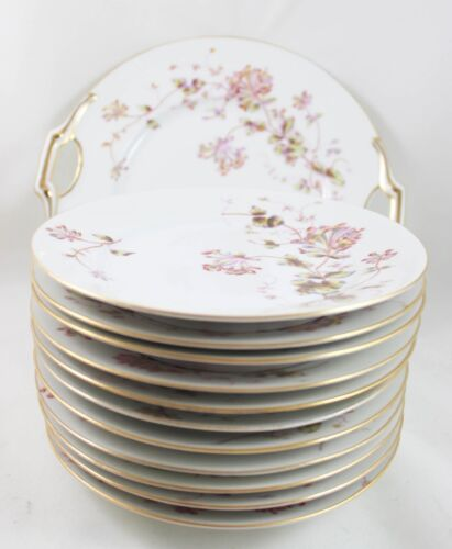 22 PIECE SERVING SET D&C DELINIERES LIMOGES FRANCE CHINA GOLD WHITE PINK FLORAL