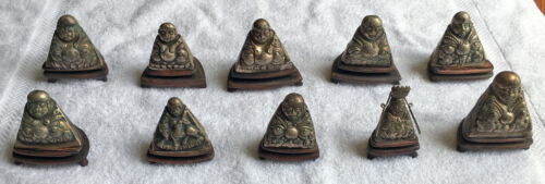 10 Antique Chinese Genuine Silver Happy Buddhas, Qing Dynasty C.1800, very rare
