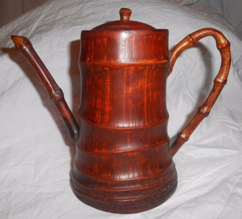 Rare Antique Primitive Asian Hand Carved Wood Bamboo Chinese Teapot DECOR
