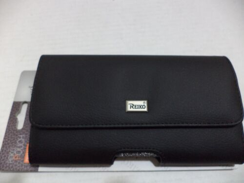 Reiko Horizontal Z lid Leather Pouch Carrying Case for iPhone 6/6S Black 5.5""