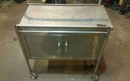 Vintage stainless steel cabinet slide out table medical industrial laboratory