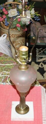 Vintage French Boudoir Art Deco Small Table Parlor Lamp-Marble Painted Glass