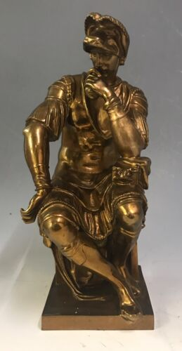 F.Barbedienne French Antique Gilt Bronze Seated Figure Of Lorenzo de Medici
