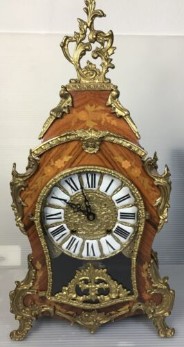 ANTIQUE  8 DAY ORMOLU French BOULLE WALNUT MANTLE CLOCK Gold Gilded Style