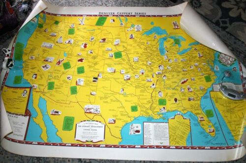 HUGE Pictorial Map of literary development of United States Denoyer-Geppert