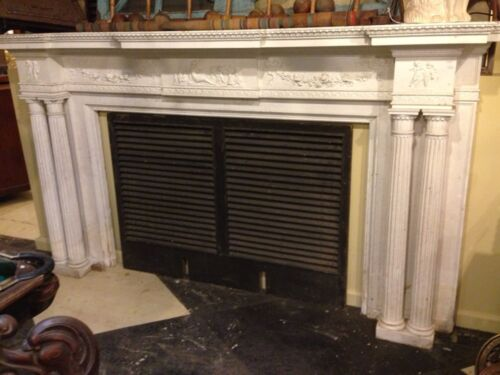 Spectacular Adams Style Fireplace Mantel W/Fluted Columns, Putti, Roses, Etc.