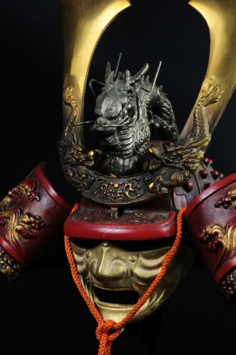 Japanese Samurai Kabuto Helmet -dragon red helmet with a mask-