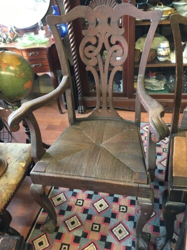 Antique Quatersawn Oak Dinning Chairs 6 Chippendale Style Need Restoration