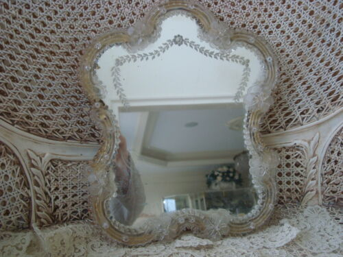 LARGE VINTAGE ITALIAN VENETIAN MURANO GLASS MIRROR WITH STAND ***GORGEOUS***