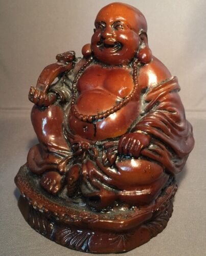 Detailed  Brown Laughing Seated Buddha Statue