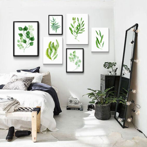 Nordic Art Watercolor Plant Leaves Minimalism Canvas Poster Home Wall Decoration