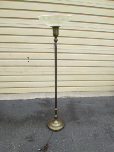 56722 Antique Torch Lamp with Glass Shade