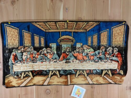 """Vintage LAST SUPPER Tapestry 20"""" x 40"""" Blue W P L 13379 Made in Italy Wall Decor"""