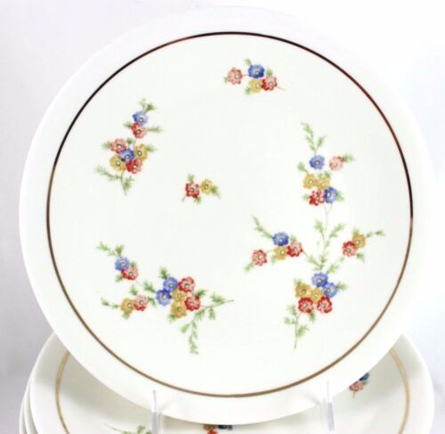 SET 3 VINTAGE RAYNAUD LIMOGES FINE CHINA COUPE DINNER PLATES GILT CREAM FLORAL