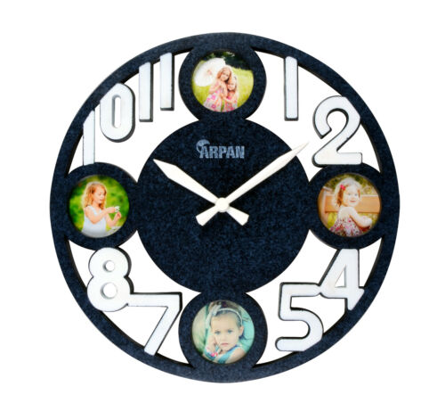 Photo Picture Round Wall Clock Home Time Display Kitchen Decor,Marble Blue
