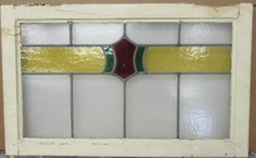 "LARGE OLD ENGLISH LEADED STAINED GLASS WINDOW Pretty Abstract 31.5"" x 19.5"""