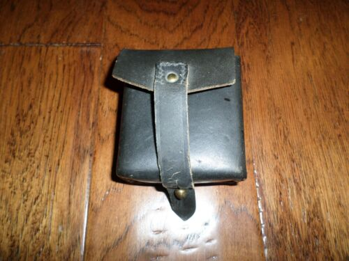 ORIGINAL WWII ITALIAN MILITARY BLACK LEATHER CARCANO AMMO 2 CLIP POUCH