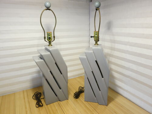 Vintage 1988 Harris Lamps Gray Geometric Modern 3-Stage Step Lamps (Set of 2)