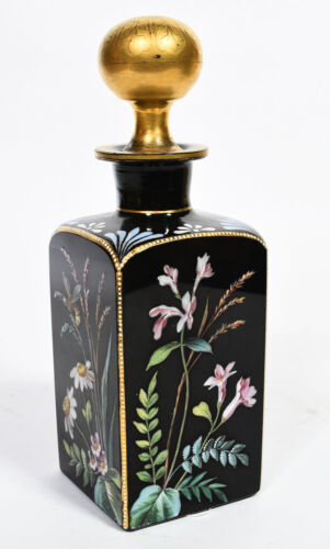 Antique Victorian Floral & Bee Enameled Black Glass Perfume Bottle w/ Gold Top