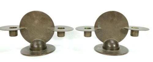 Vintage Art Deco Chase Brass Disc Style Candlesticks Gerth & Gerth Designers