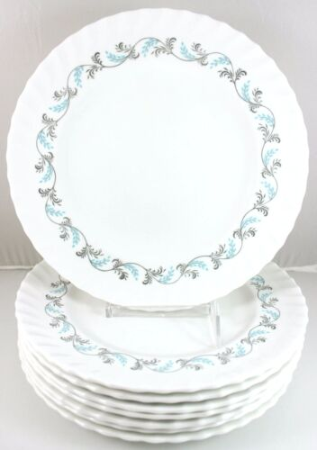 SET(S) 6 DINNER PLATES VINTAGE ROYAL CROWN DERBY DIANA A1160 DUESBURY AQUA BLUE