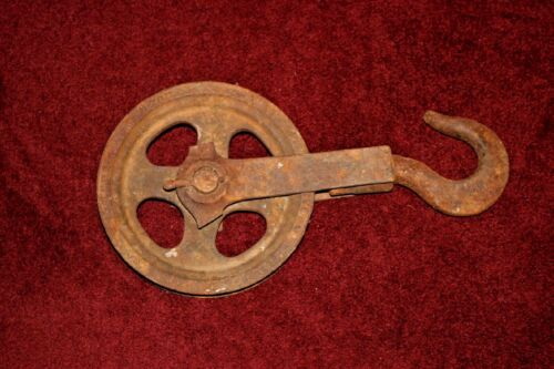 Antique Yale & Towne Nautical Barn Pulley Wheel W/Hook-LARGE-Stanford Conn.