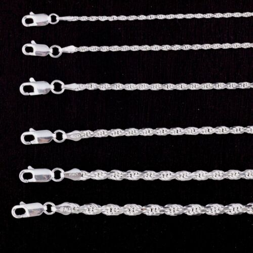 Solid Geniune 925 Sterling Silver Rope Chain Necklace Bracelet Anklet Italy Made