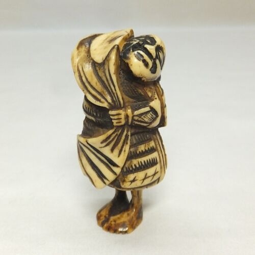 D104: Real old Japanese cultural NETSUKE of SAMURAI statue for INRO etc