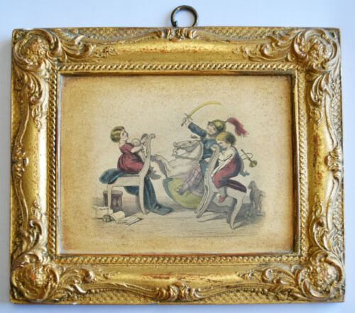 Borghese Rare Antique Gold Gilt Ornate Plaster Chalkware Picture & Frame