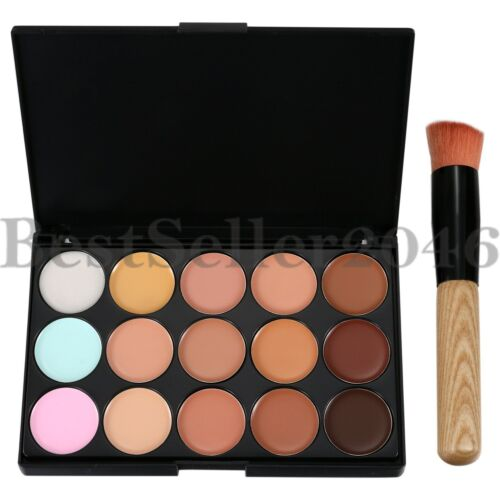 15 Color Face Contour Kit Highlighter Makeup Kit Cream Concealer Palette w Brush