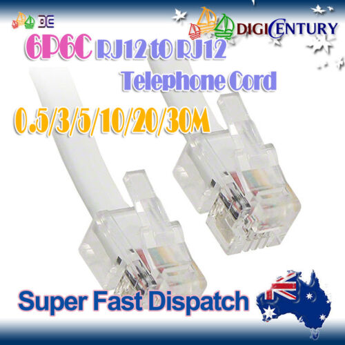 6P6C RJ12 Reverse Cross-over White Telephone Lead Cord Cable 0.5/1/3/5m ASDL 2+