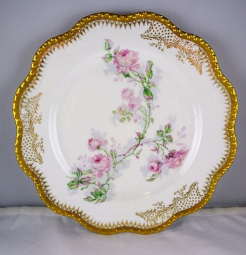 Haviland & Co. Limoges Porcelain Hand Painted Cabinet Plate Roses w/ Heavy Gold