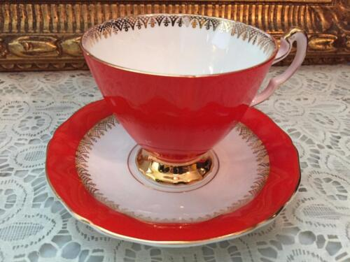 STUNNING ROYAL ADDERLEY CUP & SAUCER SET BEAUTIFUL CORAL AND GOLD TRIM ENGLAND