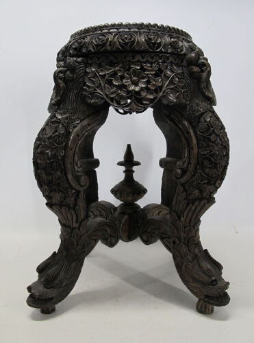Anglo Indian Carved Teak Export Victoriana Plant Vase Fern Stand Dolphins NR yqz