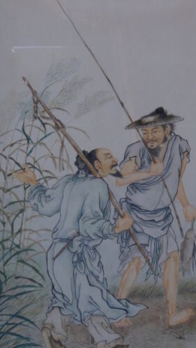 ANTIQUE 19C CHINESE  WATERCOLOR ON PAPER PAINTING OF 2 FISHERMEN NEAR BAMBOO