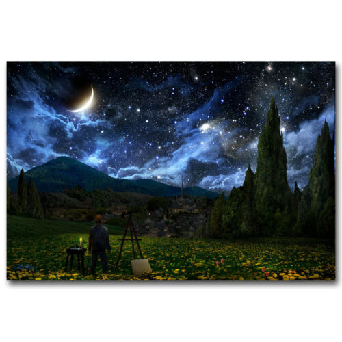 Van Gogh Artwork Starry Night Landscape Silk Poster Prints Wall Decoration