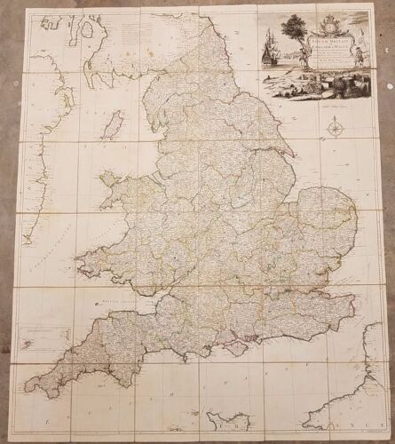 Large Antique 1777 Map of England or South Britain & Wales by Thomas Kitchin