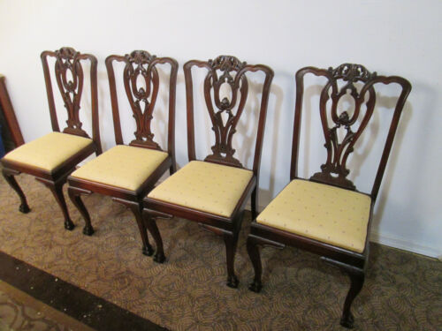 57992   Set 4 Antique Claw Foot Dining Chair s Chairs
