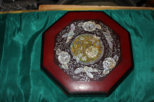 Vintage Chinese Red Lacquer Jewelry Box-Mother Of Pearl Inlay Birds Flowers