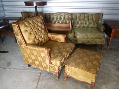 FRENCH PROVINCIAL ARM CHAIR AND OTTOMAN