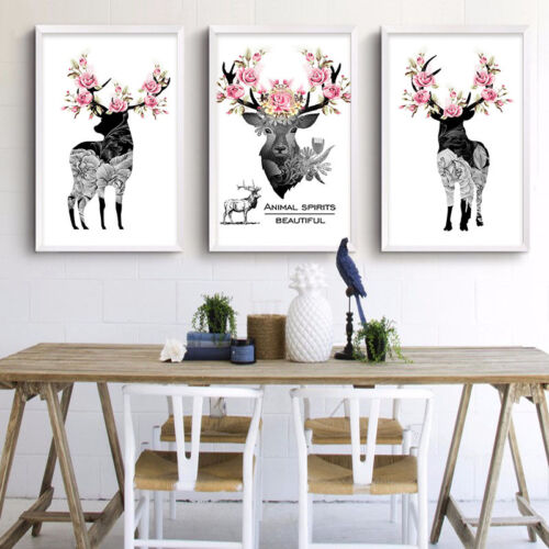 Nordic Style Deer Flower Canvas Vintage Poster Retro Wall Art Canvas Painting