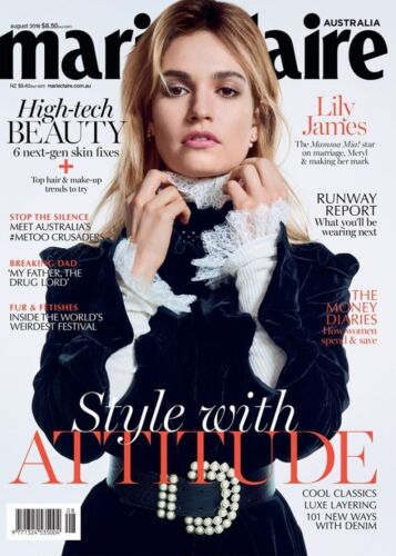 MARIE CLAIRE Australia AUGUST 2018 LILY JAMES Style With Attitude NEW