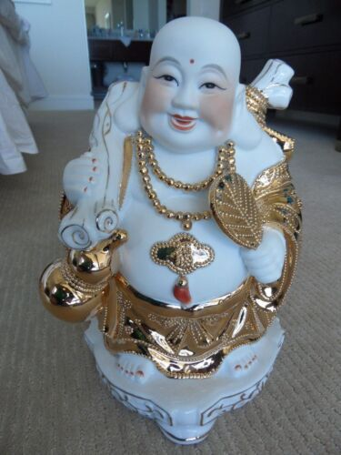 LAUGHING BUDDHA Chinese-China-Happy-Lucky-Perfect Condition-Gold-Porcelain-RARE