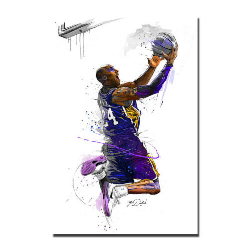 Watercolor Kobe Bryant Dunds Poster Basketball Art Silk Poster 12x18 24x36 inch