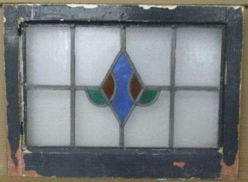 """OLD ENGLISH LEADED STAINED GLASS WINDOW Pretty Abstract 21.75"""" x 16.25"""""""