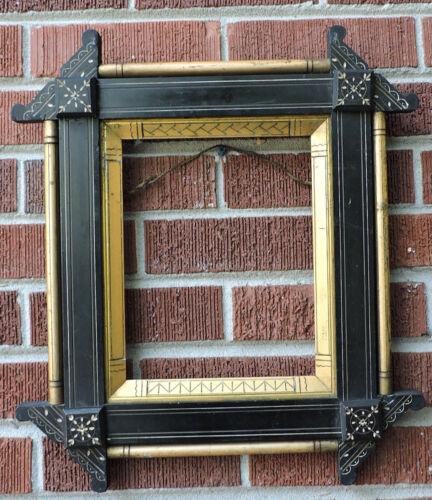 Antique Victorian EASTLAKE Black Incised GILT Gold Picture Frame 8 x 10 c1870s