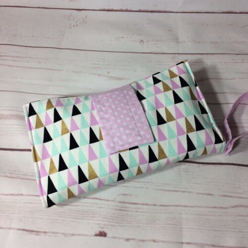 Nappy wallet diaper clutch lilac grey pink gold, feathers, bunny, triangle