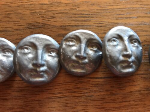 Set of Six Very Old Leaden Color Metal Man in the Moon Face Buttons