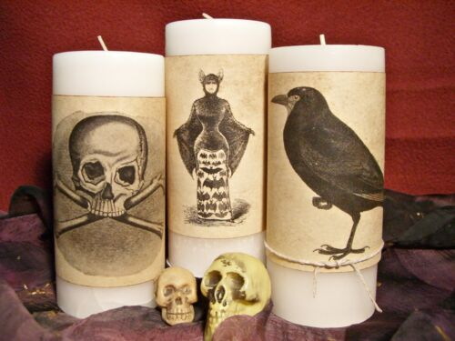 12 CANDLE WRAPS HALLOWEEN Vintage Look Aged Tea-Stained Paper Decor w/Twine Ties
